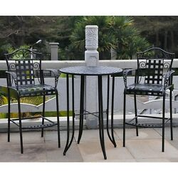 Wrought Iron Patio Furniture Bar Height Dining Set Bistro Balcony Antique Black