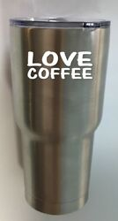 ThatLilCabin love coffee AS497 3.5quot; vinyl tumbler decal $4.24