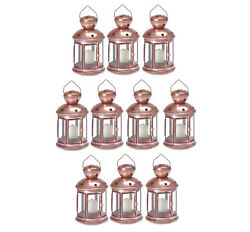 WHOLESALE LOT: 10 Colonial Copper Color and Clear Glass Candle Lantern Set NEW