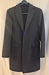 Jil Sander Men's grey wool overcoat size 38 (EU48) gently used cobalt lining