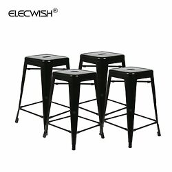 Set of 4 Metal Steel 24'' Bar Stools Vintage Countertop Outdoor Patio Home Chair