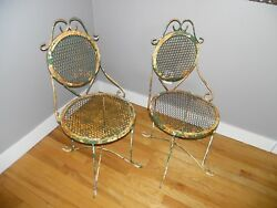 Pair of Vintage Mid Century Shabby Metal Ice Cream Parlor Patio Bistro Chairs