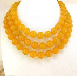 Rare Natural10mm Necklace Yellow Jade Round Gemstone Bead Knotted 36
