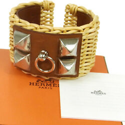 Authentic HERMES H Logos Medor Picnic Bangle Willow Accessories G02716