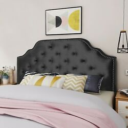 Falcon Contemporary Tufted New Velvet Queen Full Headboard w Nailhead Accents $179.34