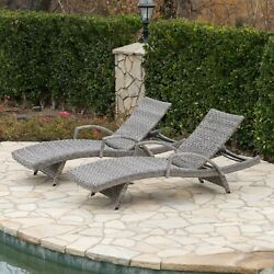 Keira Outdoor Armed Aluminum Framed Grey Wicker Chaise Lounge