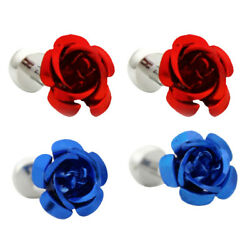 Mens Shirt Cuff Links for Wedding Party Sleeve Button Rose Flower Design $6.98