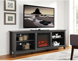 WALKER EDISON FURNITURE COMPANY Wood Media TV Stand Console Fireplace Charcoal