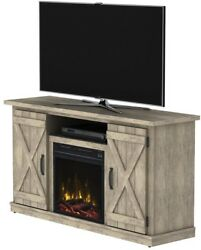 CLASSIC FLAME 47.50 in Media Console Electric Fireplace Ashland Pine Light Brown