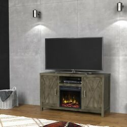 CLASSIC FLAME New TV Stand Media Console Electric Fireplace Heater Spanish Gray