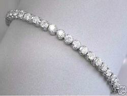9.00ct F VS2 Round Brilliant Cut Diamond Tennis  Line Bracelet 18ct White Gold