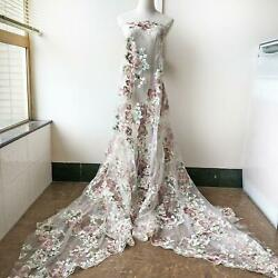 51quot; Width Flower Embroidery Lace Fabric Materials DIY Wedding Bridal Dress 1 Y $18.99