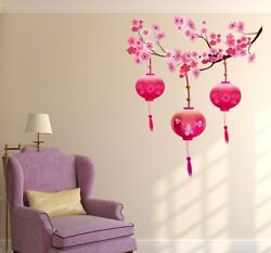 Wall Sticker Chinese Lamps Lantern on Floral Branch Bedroom Decor Wall Stickers $19.63