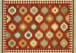 7'x9' Loloi Rug Isara Wool Red Multi Color Flat Weave Traditional Design