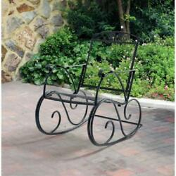 Outdoor Rocking Chair Porch Wrought Iron Mesh Seat and Back Lawn Patio Furniture