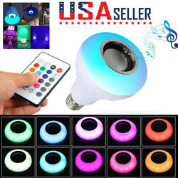 Wireless Bluetooth LED Light Speaker Bulb RGB E27 12W Music Playing lamp Remote $8.95