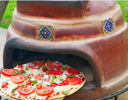 Talavera Tile Clay Pizza Oven Wood Burning W Stand Outdoor Cooking Patio Home