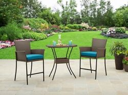 Bar Height Bistro Set Backyard Table Chairs Wicker 3 Piece Patio Deck Furniture