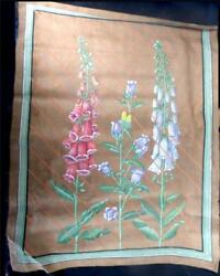LARGE INDIAN WATERCOLOUR ON CLOTH FLOWERS FOX GLOVES FLOWERS 91cm X 71cm GBP 29.99