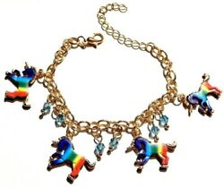 RAINBOW UNICORN CHARM BRACELET gold chain blue beaded kids womens girls M5