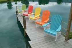 A&L Furniture Co. Amish-Made Two-Tone Poly Adirondack Chairs with White Frames