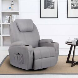 U-MAX Heated Fabric Massage Recliner Chair 360 Degree Swivel Ergonomic Lounge