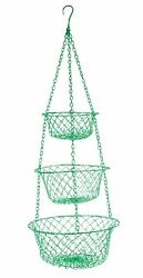 3 Tier Wire Hanging Kitchen Basket Fruit Vegetable Organizer Plant Storage Green $22.28