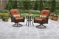 BETTER HOMES AND GARDENS Outdoor Bistro Set Swivel Chair Burnt Orange 3 Piece