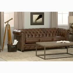 Rustic Hancock Tufted Distressed Brown Premium Italian Chesterfield Leather Sofa