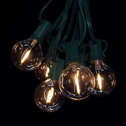 LED Warm White Outdoor Patio String Lights 100 ft LED Filament G40 Clear - Wire