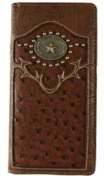 Star Mens Wallet Western Bifold Check Book Style W069 13 Brown $13.99