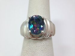Oval Mystic Fire Blue Rainbow Topaz Modern Scalloped Ring Size 6 Sterling Sil...