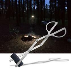 Outdoor Portable Campfire Tongs Grabber Fireplace Log Fire Pit Grill Tool T0E9