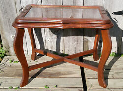 Antique Vtg Wooden Butler's Side Coffee Table w Glass Tray Table Top