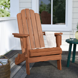 Home Decor Front Yard Folding Adirondack Chair Patio Porch Garden Solid Wood