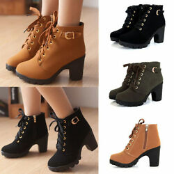 Ladies Womens Zipper Buckle Platform Shoes High Heel Lace Up Ankle Boots