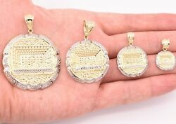 Mens Apostles Last Supper Charm Pendant Diamond Cut Real 10K Yellow White Gold $98.20