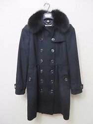 NWT WOMENS AUTHENTIC BURBERRY LONDON BLACK WOOL & CASHMERE FOX FUR COAT US 04 MS