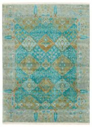9' x 12' Area Rug Rectangle Teal Green Handmade Hand-Knotted Traditional Vintage