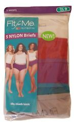 Fruit of the Loom Women's Fit for Me Plus Size 100% Nylon Briefs 5 Pack Panties $12.95