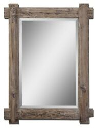 Rustic Claudio Stained Wood Wall Mirror Cabin Mountain Lodge Western Decor