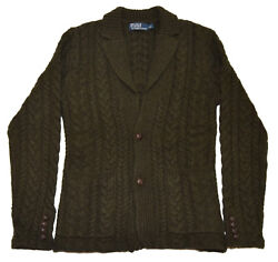 Polo Ralph Lauren Mens Cashmere Wool Cable Cardigan Sweater Olive Green Small