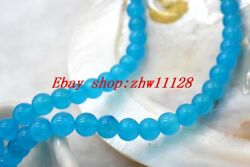 Natural 6mm Round Blue African South America Topaz Gemstone Loose Bead 15'' AAA