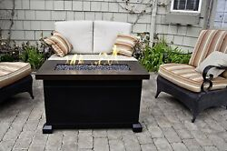 Outdoor Fire Pit Table Glass Heater Back Yard Patio Fireplace Gas Deck Furniture