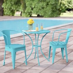 Outdoor 3 Piece Iron Bistro Set Patio Garden Furniture Chairs Table Metal Teal