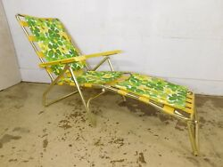 ~VTG~ RETRO Yellow Flowers Straps Gold Aluminum Beach Folding Lounge Patio Chair