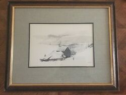 Vintage Turner Wall Accessory Sketch of Cabin in snow  framed 1960's Signed