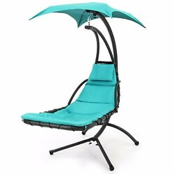 Chaise Lounge Chair Outdoor Arc Stand Air Porch Comfy Canopy Furniture Teal Gift