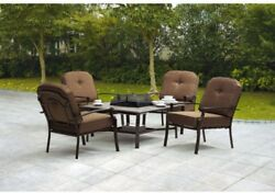 Outdoor Fire Pit Patio Set 5 PC Table Furniture Chairs Wood Burning Firepit