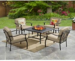 Outdoor Fire Pit Patio Set 5 PC Table Furniture Chairs Wood Burning Firepit Tan